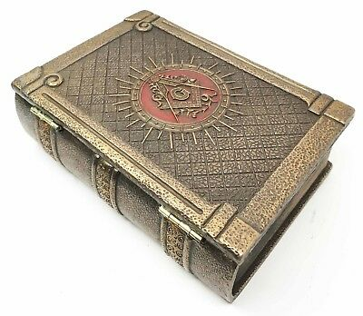 "Masonic Symbol Freemasonry Square and Compasses Bronze Small Hinged Book Box 6""L"