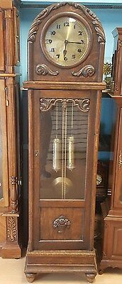 Gustav Becker, Vintage German Grandfather Clock, Chain Driven, Solid Wood Case