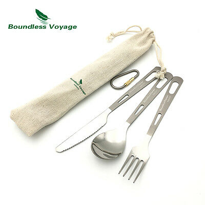 Titanium Flatware Set Camping Spoon Outdoor Fork Picnic Knife Ti1557B