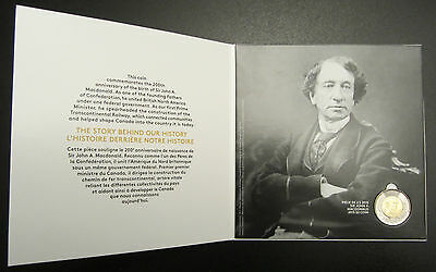 1815 - 2015 Sir John A. Macdonald $2 Toonie Coin W/ Collector Card Holder Folder