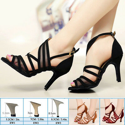Womens Modern Tango Latin Ballroom Salsa Dance Shoes Ladies Lace Heels All Size