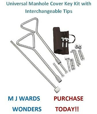 Universal Manhole Cover Key Kit with Interchangeable Tips - DAD1FSS