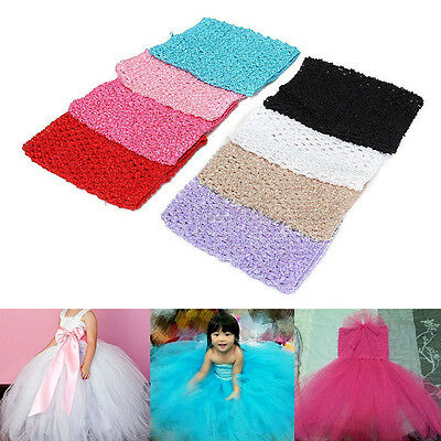 "Baby Girls Crochet Tube Elastic Waistband Headband Tutu Skirt Costume 6''/9""/12"""