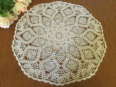 Vintage Ecru Cotton Flower Hand Crochet Lace Doily/Topper/Table Cloth