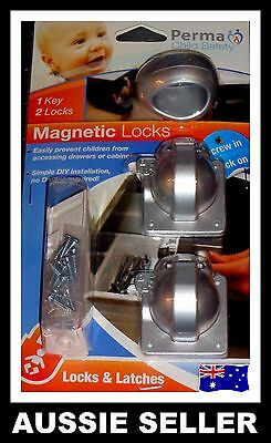 Perma Premium Concealed Magnetic Locking System – 4 Locks 2 Keys AUSSIE SELLER