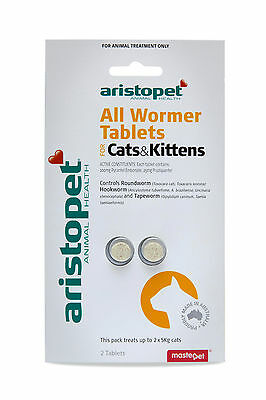 Aristopet All Wormer for Cats & Kittens 2pk - Cat Worming Tablets - Aus Made