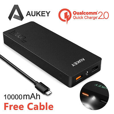 AUKEY External Portable 10000mAh Power Bank QC 2.0 Battery Charger For Mobile