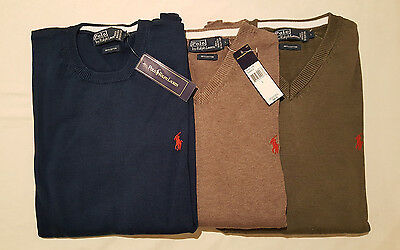 Polo Ralph Lauren Men's V Neck Round Neck Sweater Jumper Cotton Authetic New NWT