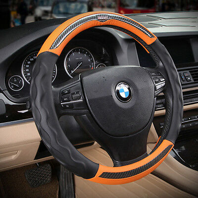 Sport Orange No Smell Leather Automotive Car Steering Wheel Cover Grip Anti slip