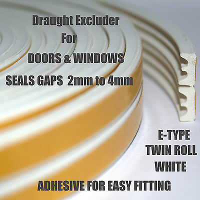Draft Excluder For Doors & Windows Adhesive Double Roll White EDPM Easy to Fit