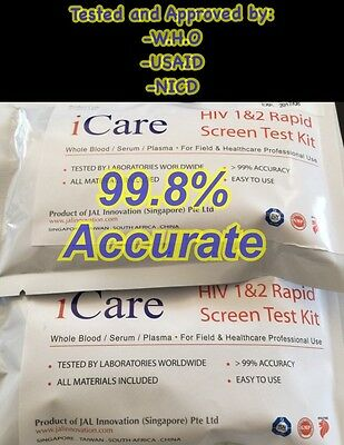 HIV 1&2 Aids Rapid Blood Home Test Kit 99.8% STI STD Approved By WHO USAID NICD