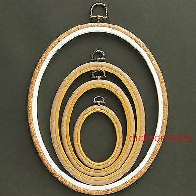 """Oval Flexi Hoop Woodgrain Effect Frame Embroidery Cross Stitch 2.5"""" to 10"""""""