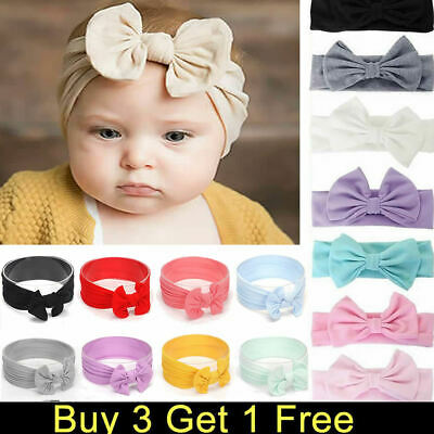 Girls Kids Baby Cotton Bow Hairband Headband Sweet Turban Knot Head Wrap