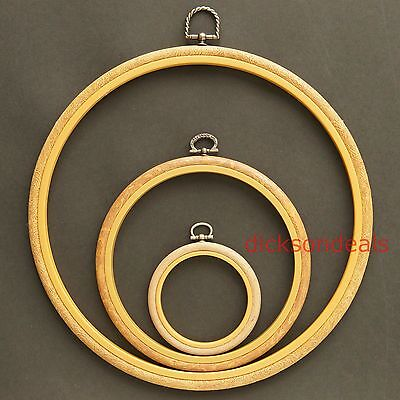 "Circular Flexi Hoop Woodgrain Effect Frame Embroidery Cross Stitch 3"" 6"" and 10"""