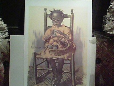 WOMAN'S WORK`IS NEVER DONE ...black Child` memorabilia litho`print....BEAUTIFUL!