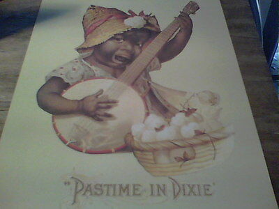 PASTIME` IN DIXIE ```...unusual Black Memorabilia` CHILD playing banjo` print