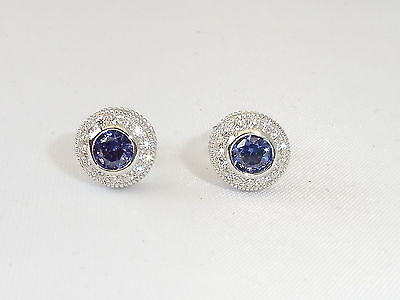 Ladies Hallmarked Sterling 925 Solid Silver White Sapphire & Tanzanite Earrings