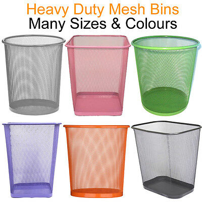 Mesh Bins Waste Rubbish Paper Wastebasket Trash Kids Dustbin Metal Home Office