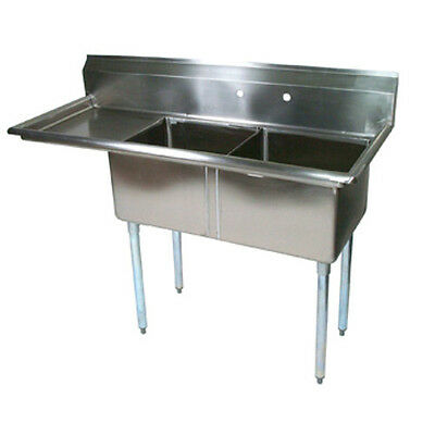 "John Boos E2S8-1620-12L18 E-Series Two Compartment Sink w/ 18"" Left Drainboard"