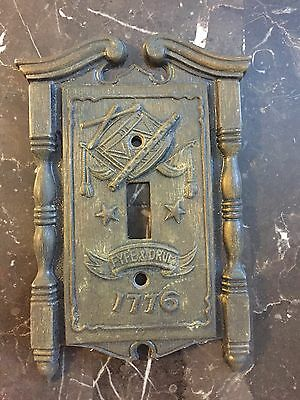 VTG American Tack & HDWE  Co. 1968 Metal Light Switch Cover Fyfe & Drum 1776
