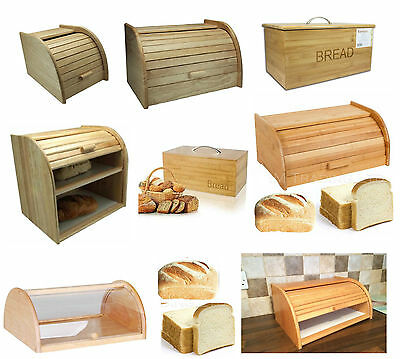 Bread Bin Beech Wood / Bamboo Wooden Roll Top Bread Bins Kitchen Food Storage