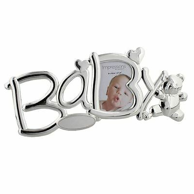 """Silver Plated """"Baby"""" With Teddy Newborn Baby Picture Photo Frame Gift"""