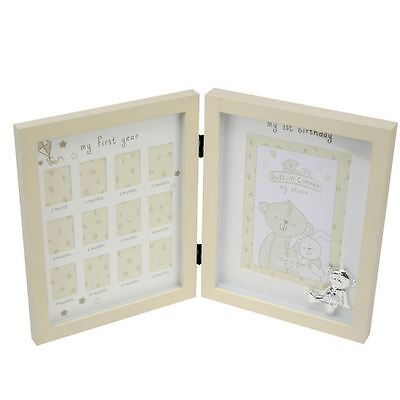 "Button Corner Metal Icon ""My First Year"" Newborn Baby Picture Photo Frame Gift"