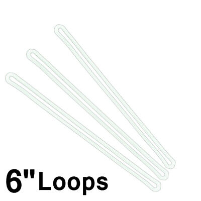 Bulk Lot 100 Pack - Premium 6 Inch Clear Plastic Luggage Tag Worm Loop Straps