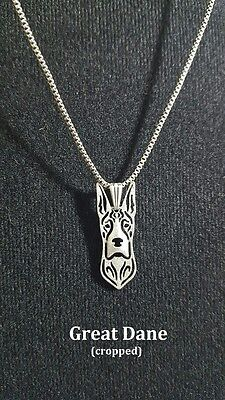 Silver Plated Necklace - Great Dane - cropped - USA Seller-Fast Ship w/Tracking
