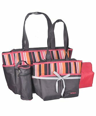 Carter's Tote Diaper Bag Set - Pink/Gray