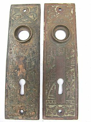 2 Highly Decorative Eastlake Antique Brass Backplates #4
