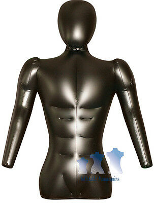 Inflatable Mannequin, Male Torso w/ Head & Arms Black