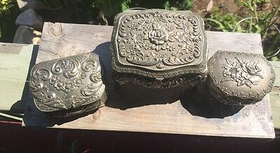 Vintage metal japan jewelry box trinkets lovely set of 3