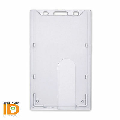 Clear Rigid / Hard Plastic Vertical Badge Holder - Top Load Insert (AC-915)