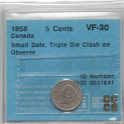 Canada 1858 SD 5 Cents Triple Die Clash On Obverse Variety CCCS Certified VF-30