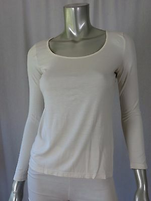 TALBOTS PETITES SZ P Rayon/Lyocell Antique White Scoop Neck Blouse  Top Shirt