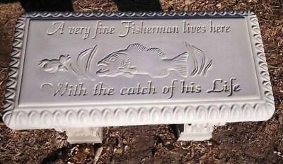 """Concrete Bench Mold  Bass Fishing design  1/8"""" thick top only."""