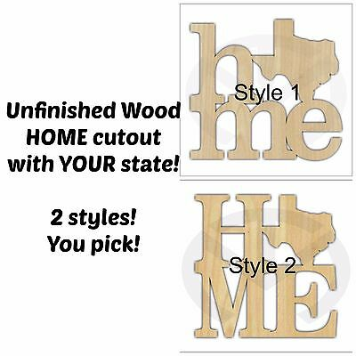 Home Wall/Door Decoration with Your State Shape, Unfinished Wood, Laser-Cut