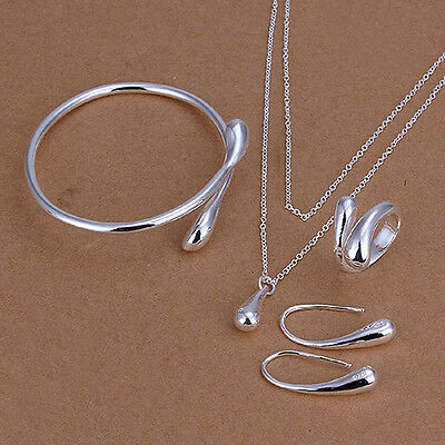 Women Silver Plated Jewelry Set Bracelet Necklace Ring Earings Hot Selling