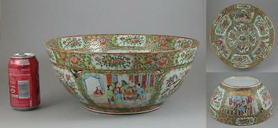 Large Antique 19thC Chinese Canton Famille Rose Mandarin Court Punch Bowl 34.5cm