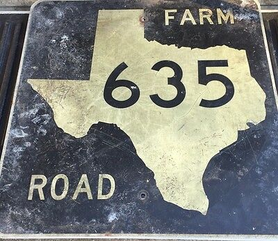Old Authentic Retired TEXAS 635 SIGN Highway Oil Gas (24X24) Lone Star