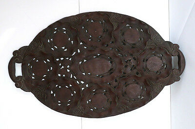 Antique Large BEAUTIFULLY Hand Carved MAHOGANY Handled Floral Tray