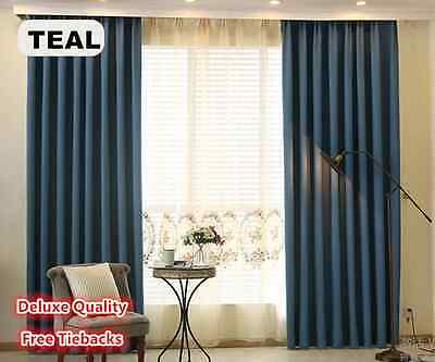 Deluxe Quality Blockout Eyelet Curtains Linen Velvet Pure Fabric Dark Teal Blue