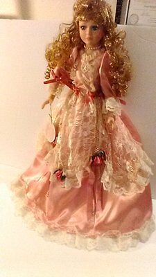 """23"""" Porcelain Doll From The Pamela Collection Forever Friends Dusty Rose Lace"""