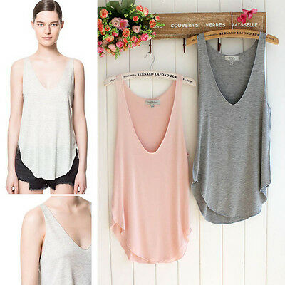 Womans Lady Sleeveless V-Neck Candy Vest Loose Comfort Tank Tops T-shirt Blouse
