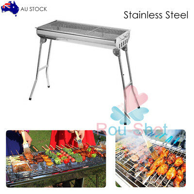 Portable Folding Charcoal BBQ Grill Stainless Steel Outdoor Household Camping