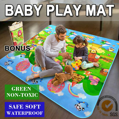 Baby Kids Play Mat Floor Rug Picnic Cushion Crawling Mat Travel 2mx1.8mx5mm OZ