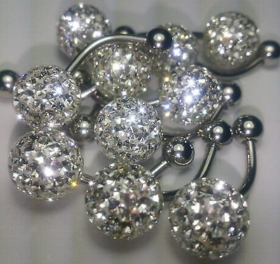 Ferido Belly Rings Crystal Clear Color 10mm Resin Coated 10Pcs/1Set