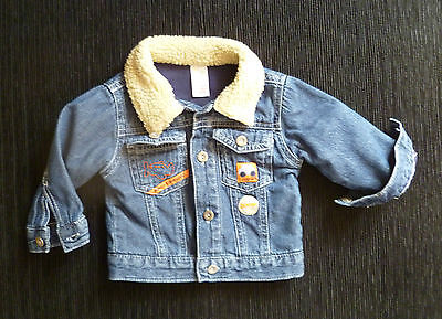 Baby clothes BOY 3-6m Baby Mac denim biker jacket beige fleece collar SEE SHOP!