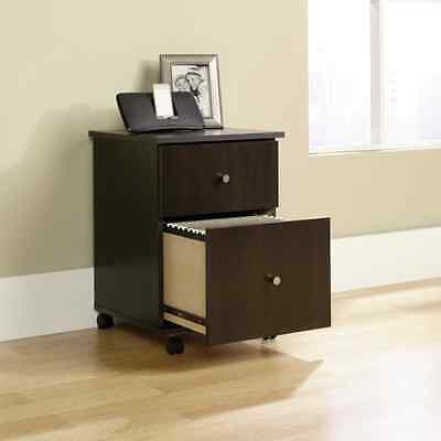 Filing Cabinet 2 Drawer Wood Record Storage File Rolling Cart Cinnamon Cherry